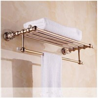 Crystal Wall Mounted Rose Golden Towel Holder Brass Finish Bathroom Accessories Towel Racks Towel Shelf