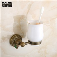 Bathroom antique bathroom accessories single cup holder Tumbler holder brushing  single glass cup holder with green stone
