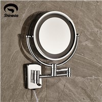 LED Chrome Brass Frame Wall Mounted Make Up Mirror 3 * Magnifying Beauty Mirror