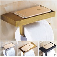 New Arrivals Antique bathroom paper roll holder with phone shelf bathroom Mobile phone towel rack toilet paper holder tissue box
