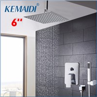 KEMAIDI Chrome Finish Bath Shower Mixer Faucet Single Handle Hole Waterfall Rain Shower Set Faucet with Handshower Shower Set