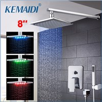 KEMAIDI LED Three Color Changing Rainfall&Waterfall Bath Shower Panel Wall Mounted Message Shower Set With Hand Shower