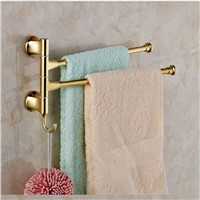 Morden Golden Bathroom Towel Rack Holders Swivel Towel Bars Golden Base Bars