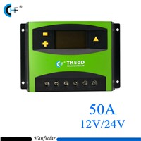 10pcs/lot PWM 50A Charge Controller 12V 24V LCD Display Solar Panel Charge Regulator TK50D for Solar Energy System