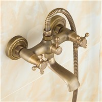 Wall Mounted Antique Brass Bath Faucets 360 Swivel Faucets Bathroom basin Mixer Tap crane With Hand Shower Head Shower Faucet