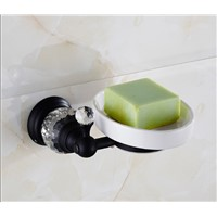 European Style Crystal & Brass bathroom Soap Dishes  with ceramic holder black oil brushed Soap Holder/Soap basket Wall Mounted