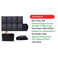 28W 18V or 5V Foldable Solar Panel Charger with Solar Controller for charging mobile phones, iPad, computers