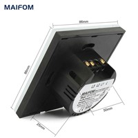 MAIFOM Remote Control Light Switch  EU Standard 2 Gang 1 Way Crystal Glass Panel & LED Indicator Touch Control Wall Switch