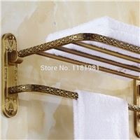 Wall Mounted Antique copper finish Brass Double Tiers Towel Bar Art Carved Style Bathroom Towel Hanger bathroom accessories I643