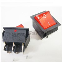 5PCS DPDT Red Indicator Light  On-On Latching 6 Pin Rocker Switch
