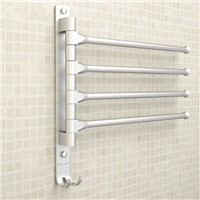 European Space Aluminium Towel Rack 4/3/2 Arms Towel Hanging with Hooks Bathroom Towel Rack Movable Towel Bars Bathroom Products