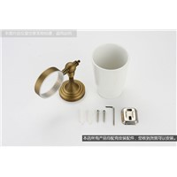 Antique Bronze Single Toothbrush Holder Luxury Brush Tumbler Ceramic Cup Holder Wall Mounted Bathroom Hdarware