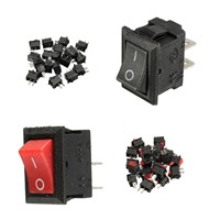 20pcs 250V 3A Mini Boat Rocker Switch SPST ON-OFF 2Pin Black Plastic Button Applied to Controlling Household Appliance Favorable