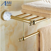 63GD Series Series Towel Rack Golden Polish Copper With Diamond Continental Bathroom Accessories With Towel Bar Towel Shelf