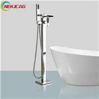 Chrome Polished Single Handle Waterfall Bathtub Faucet Freestanding Floor Mounted Brass Tub Mixer filler with Handshower