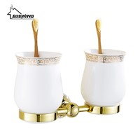 Crystal Brass Glass Bathroom Accessories Gold Double Cup Tumbler Holders,toothbrush Cup Holders