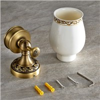 Bathroom Single Cup Holders Pendant Antique Glass Tumbler Holder Single Toothbrush Cup Rack Shelf Bathroom Accessories