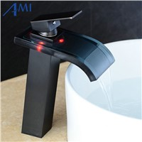 LED Faucet Water Powered  Bathroom Basin Faucet Chrome Polish Brass & Glass Mixer Tap Waterfall Faucet Hot Cold Crane Basin Tap