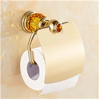 Luxury  Gold Crystal Brass Toilet Paper Holder  Polished European Tissue Box Roll Holder Bathroom Accessories Products