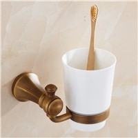 Antique Bronze Cup Holder Brushed Toothbrush Cup Holder Stainless Steel Rack Bathroom Accessories Sets
