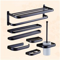 Luxury European style Antique Wall Mounted Black Brass Bathroom Wall Stand towel rack, shelf,storage,toilet Brush for Home