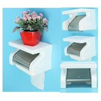 THGS Waterproof Toilet Paper Holder Tissue Roll Stand Box with Shelf Rack Bathroom