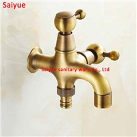 Uniqyue Antique Copper Convenient using Solid Brass Cross Garden Outdoor Faucet water washing machine Mop tap with ceramic valve