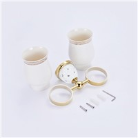 European Style crystal gold Brass Dual Cup Holder Tumbler Holder Wall Mounted Toothbrush Holder Bathroom Accessories