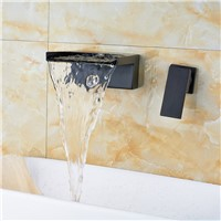 Luxury Wall Mounted Brass Single Handle Bathroom Sink Faucet Double Hole Basin Faucet Taps Waterfall Spout