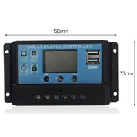 10A 12V/24V, New solar controller charge solar battery , LCD display, dual USB output 5V.for solar energy system