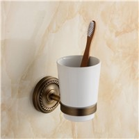 wall mount single cup holder antique style copper toothbrush tumbler&cup holder bathroom accessories GZ-9002