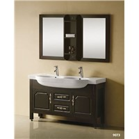 Black color  vanity cabinets with two  basin vanity