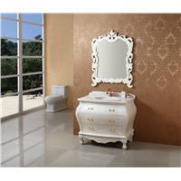 Hot sales marble countertop antique white single sink bathroom cabinet