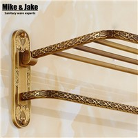 Whole brass Antique bath towel rack bathroom towel shelf bathroom towel holder Antique Double towel shelf