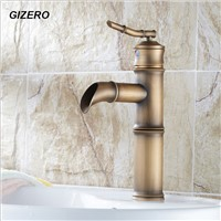 Newly Luxury Antique Brass Bathroom Bamboo Faucet Hot&Cold Deck Mounted Single Handle Sink Mixer Tap ZR140
