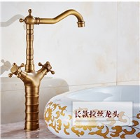 Bamboo antique bathroom faucet with solid brass bathroom basin sink faucet and hot cold bronze basin mixer tap