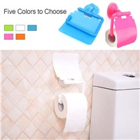 Bathroom Lavatory Sucker Wall Mounted Toilet Paper Holder Cover Roll Tissue Box