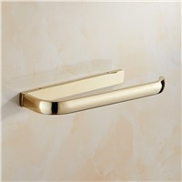Antique European Golden Towel Rack Solid Brass Bar Square Plate Ring Shelf Bathroom Hanging