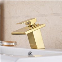 Luxury solid brass gold waterfall mixer tap with top quality chrome finishing basin faucet and hot cold waterfall faucet