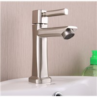 High quality 304 stainless steel single cold water bathroom basin faucet nickle brush finish