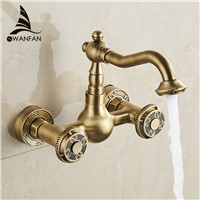 Basin Faucets Antique Bronze Brass Bathroom Kitchen Faucet Swivel Wall Mounted Dual Handle Hot Cold Mixer Taps WC Taps WF-18002