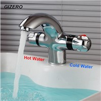 New Arrival Bathroom Basin Mixer Chrome Finish Dual Handle Temperature Control Deck Mounted Basin Thermostat Faucet ZR984