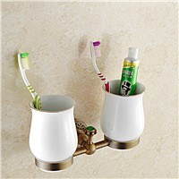 European Carved Antique Solid Brass Wall Mounted Toothbrush Holder Tumbler Porcelain With Double Cup Bathroom Accessories