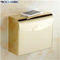 BOCHSBC Square Toilet Paper Box Waterproof Bathroom Tissue Box Gold Roll Paper Holder Stainless Steel Toilet Paper Box