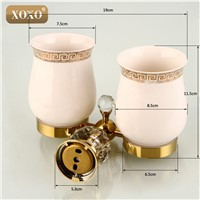 XOXO Crystal+ Brass+Glass Bathroom Accessories  Gold double cup Tumbler Holders,Toothbrush  Cup Holders 12084DGS