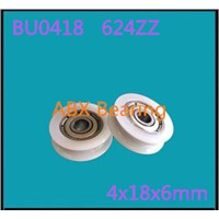 BU0418 624ZZ 624Z 624 U Groove Bearing 4x18x6mm Package Plastic Bearing POM  Wheel Doors And Sliding Door Nylon Wheel