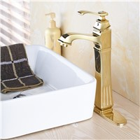 Luxury Gold Finish Bathroom Basin Sink Mixer Faucet with Hot Cold Water Taps