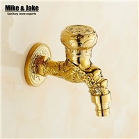 Golden brass spout for basin faucet washing machine tap single cold mop sink faucet single cold mop tap garden cold garden tap