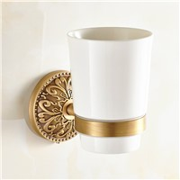 European Bronze Brass Toothbrush Holder Ceramic Cup Carved Base Tumbler Cup Holder Wall Mount Bathroom Products tp8