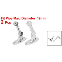 19mm / 25mm Dia Ceiling Wall Mount Double Towel Rod Bar Rack Support Bracket 2PCS